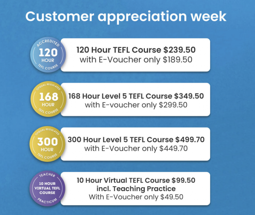 $50 OFF ANY OF THE 6 BEST ONLINE TEFL COURSES – for online or offline ESL jobs