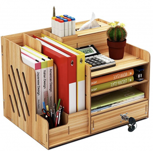 Wooden organiser with lockable drawer