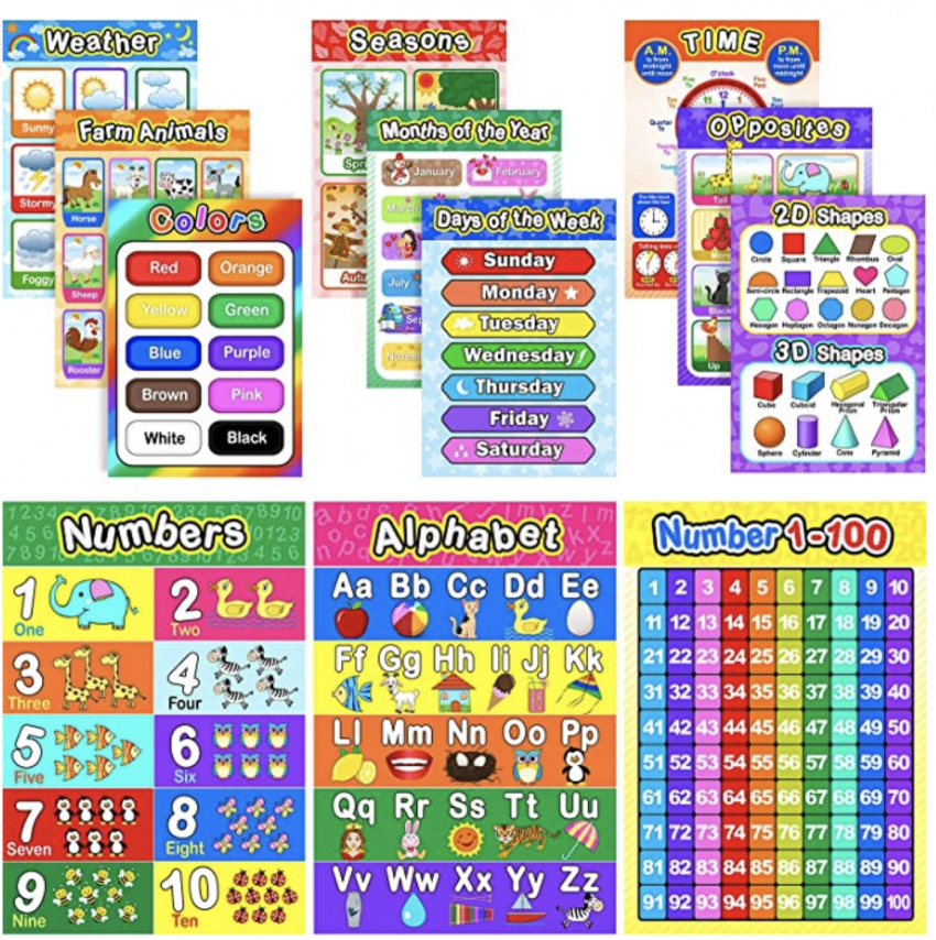 Educational online teaching posters pack: phonics, numbers, colours, days of the week